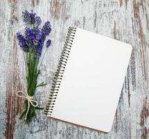 Lavender with notebook