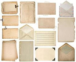 Used paper sheets. Old book pages, cardboards, music notes, envelope