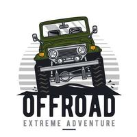 Front view of retro off-road vehicle vector