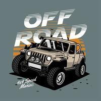Off-road vehicle retro sunset design vector