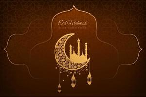 Eid Mubarak Brown and Gold Card Background