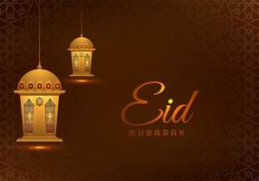 Eid Mubarak Brown Geometric Background with Lanterns