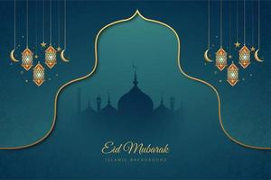 Eid Mubarak Blue and Gold Accent Holiday Background