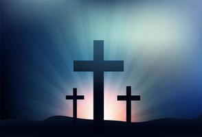 tarjeta de felicitación para pascua con fondo de tres cruces vector