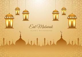 Islamic Eid Mubarak Tan Mosque Silhouette Lanterns Background