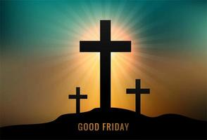 tarjeta de felicitación para el viernes santo con tres cruces vector