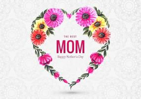 Colorful Floral Heart Shape Mother's Day Greeting