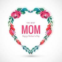 Beautiful mothers day card decorative flowers heart background
