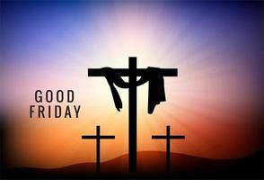 Viernes Santo de fondo con tres cruces vector