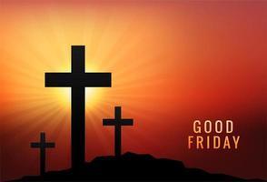 Tres cruces al atardecer para el fondo del Viernes Santo vector