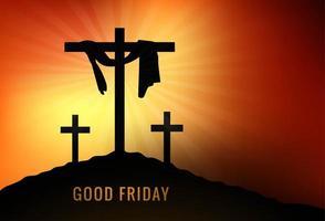 Viernes Santo con cruces y rayos de sol naranjas vector
