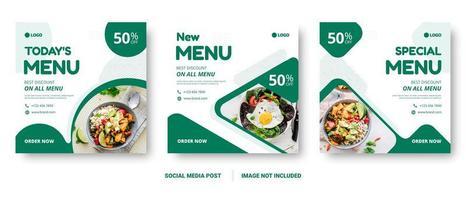 menu de comida quadrada mídias sociais postar modelos