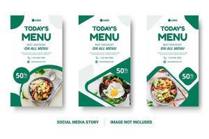 modelos de postagens de mídia social de menu de comida vertical