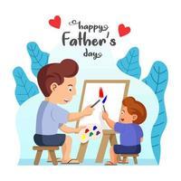 pai e filho pintando juntos vetor