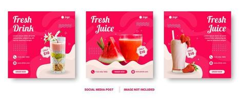 plantillas de historias de redes sociales de menú de bebidas cuadradas vector