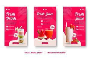 menú de bebidas verticales plantillas de historias de redes sociales vector