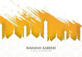 Ramadan Kareem Mosque Silhouette and Brush Strokes