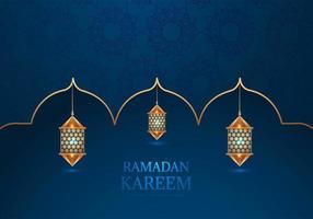 lámparas decorativas árabes ramadan kareem en azul vector