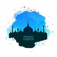design de ramadan kareem com silhueta de mesquita em splash