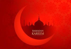 Red Ramadan Kareem Moon and Mosque Silhouette