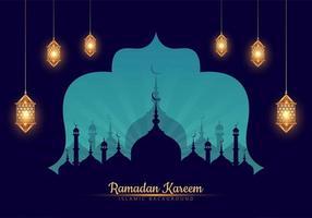 Ramadan kareem mosque silhouette par la fenêtre vecteur