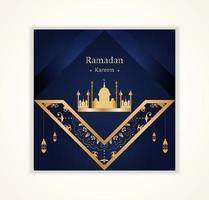Ramadan Kareem Social Post with Ornate Angled Elements