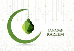 Green Crescent Moon Ramadan Greeting Background