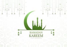 Green Mosque and Moon Ramadan Background
