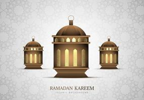 Three Ramadan Kareem Golden Lanterns