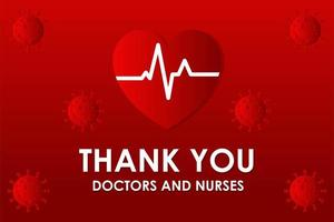 gracias médicos y enfermeras cartel de coronavirus