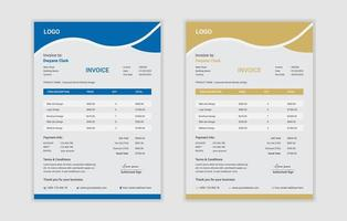 Set of Business Invoices with Flat Curved Design