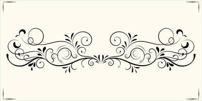 Black vintage floral ornament vector