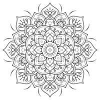 Circular Floral Mandala Coloring Page vector