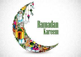 projeto bonito da colagem da lua da aquarela de ramadan