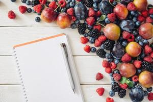 Shopping list with mixed fruit and ingredients from top view
