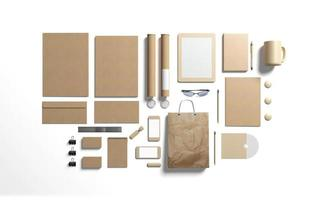 Cardboard branding elements to replace your design photo