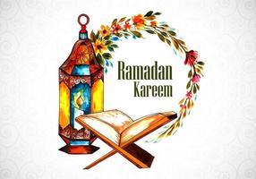 saudação de ramadan pintada à mão decorativa