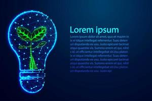 Light Bulb with Green Plant Inside vector