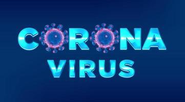 título de coronavirus en letras azul claro vector