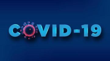 texto covid-19 con célula de virus de estructura metálica vector