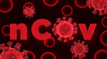 Red 2019-nCoV Wireframe Virus Cells
