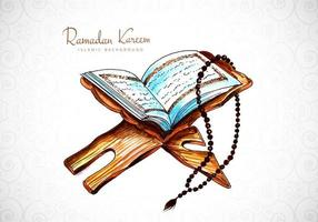 Ramadan Kareem Greeting with Watercolor Book Design
