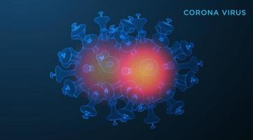 Wireframe COVID-19 on Blue Background Virus Cells