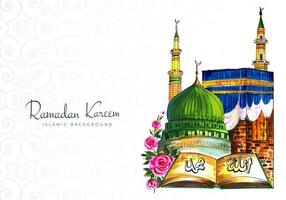 saludo de ramadan kareem dibujado a mano colorido