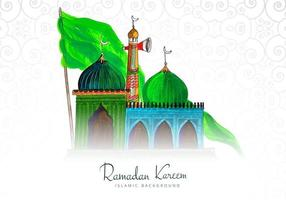 Ramadan Kareem fondo coloreado a mano