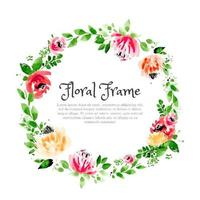 Floral Rustic Watercolor Wreath vector