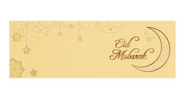 banner de eid mubarak com estrelas ornamentadas de suspensão