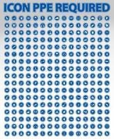 ppe requiere conjunto de iconos circulares