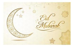 Eid Mubarak Greeting with Gold Star Pattern vector