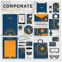 Corporate identity set with abstract sun design vector